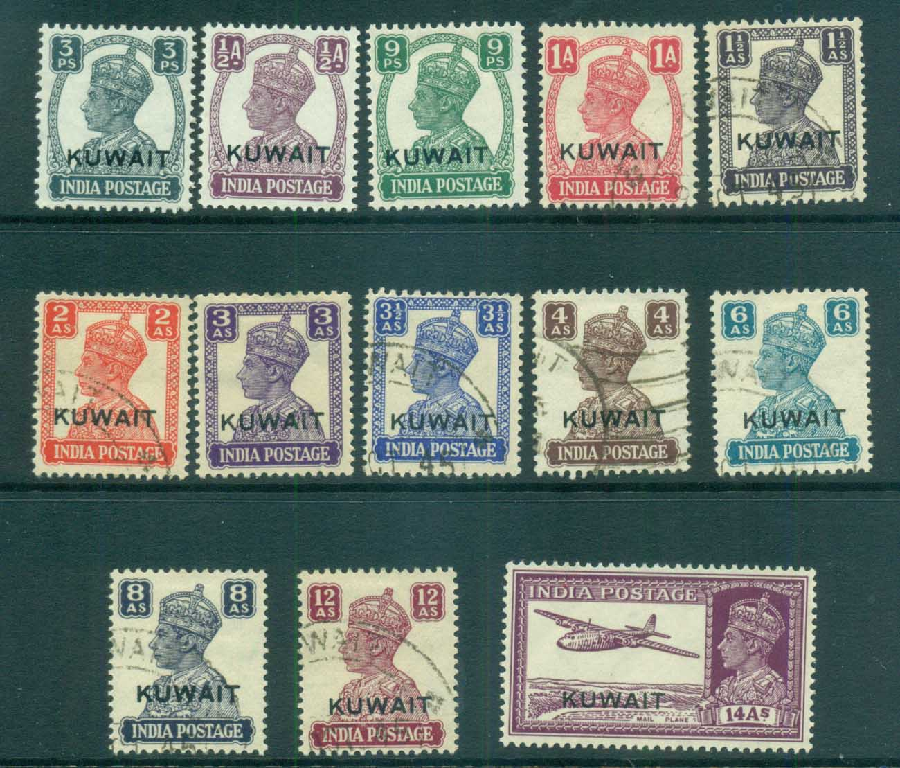 Kuwait 1945 KGVI india Opts MLH/FU lot73730