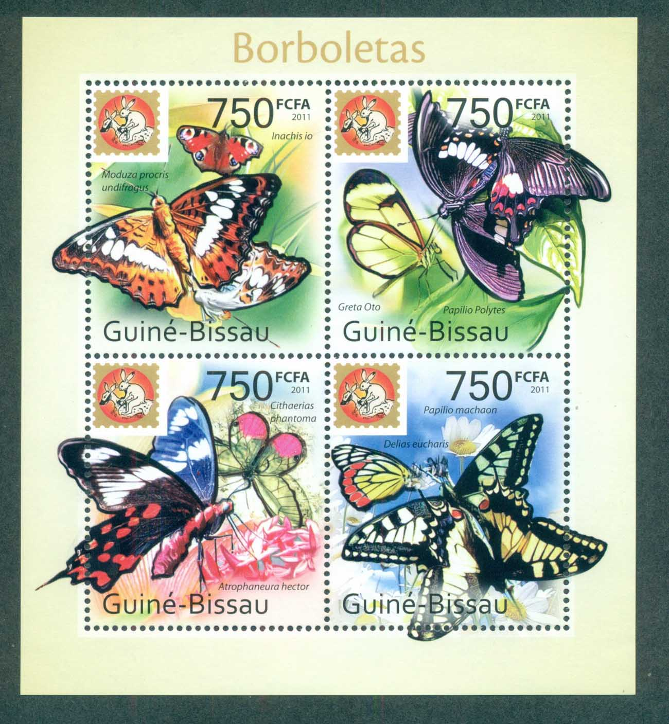 Guinea Bissau 2011 Insects, Butterflies, Phila'Nippon MS MUH GB11416c