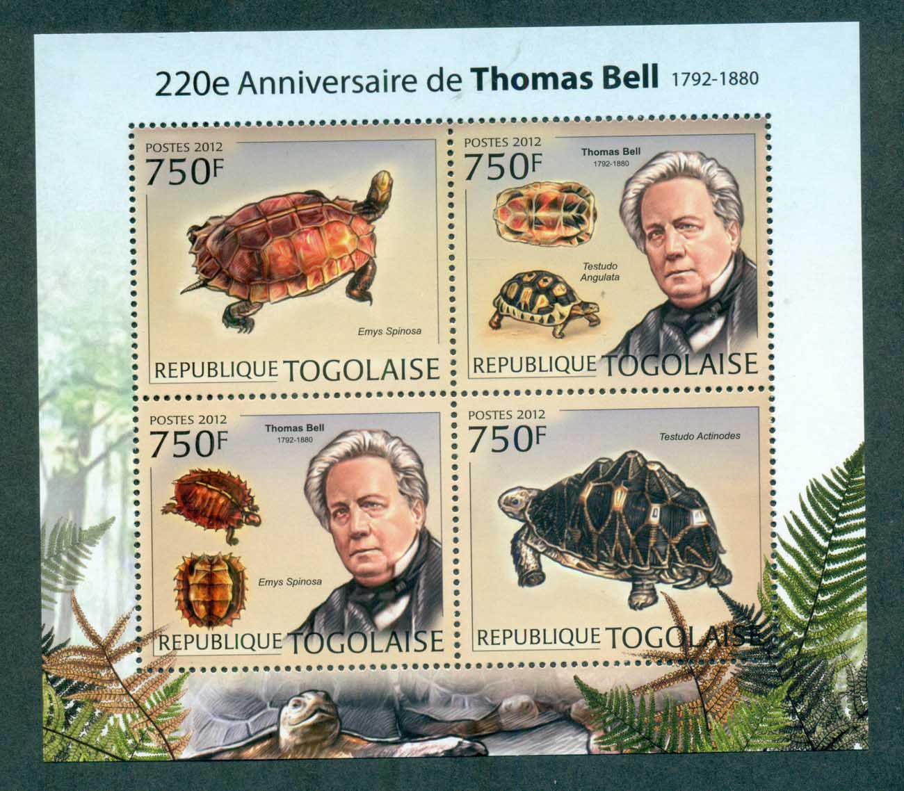 Togo 2012 Reptiles, Tortoise, Thomas Bell MS MUH TG12218a