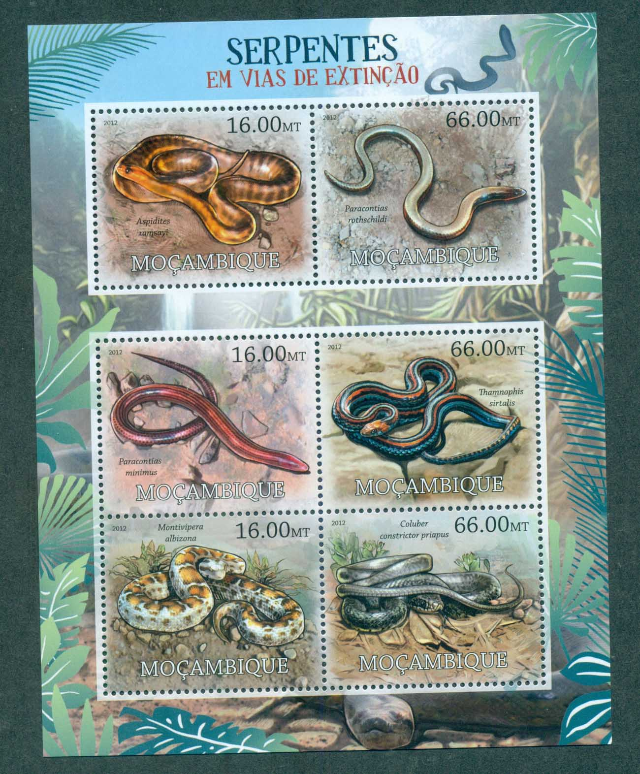Mozambique 2012 Reptiles, Snakes MS MUH MOZ12215a
