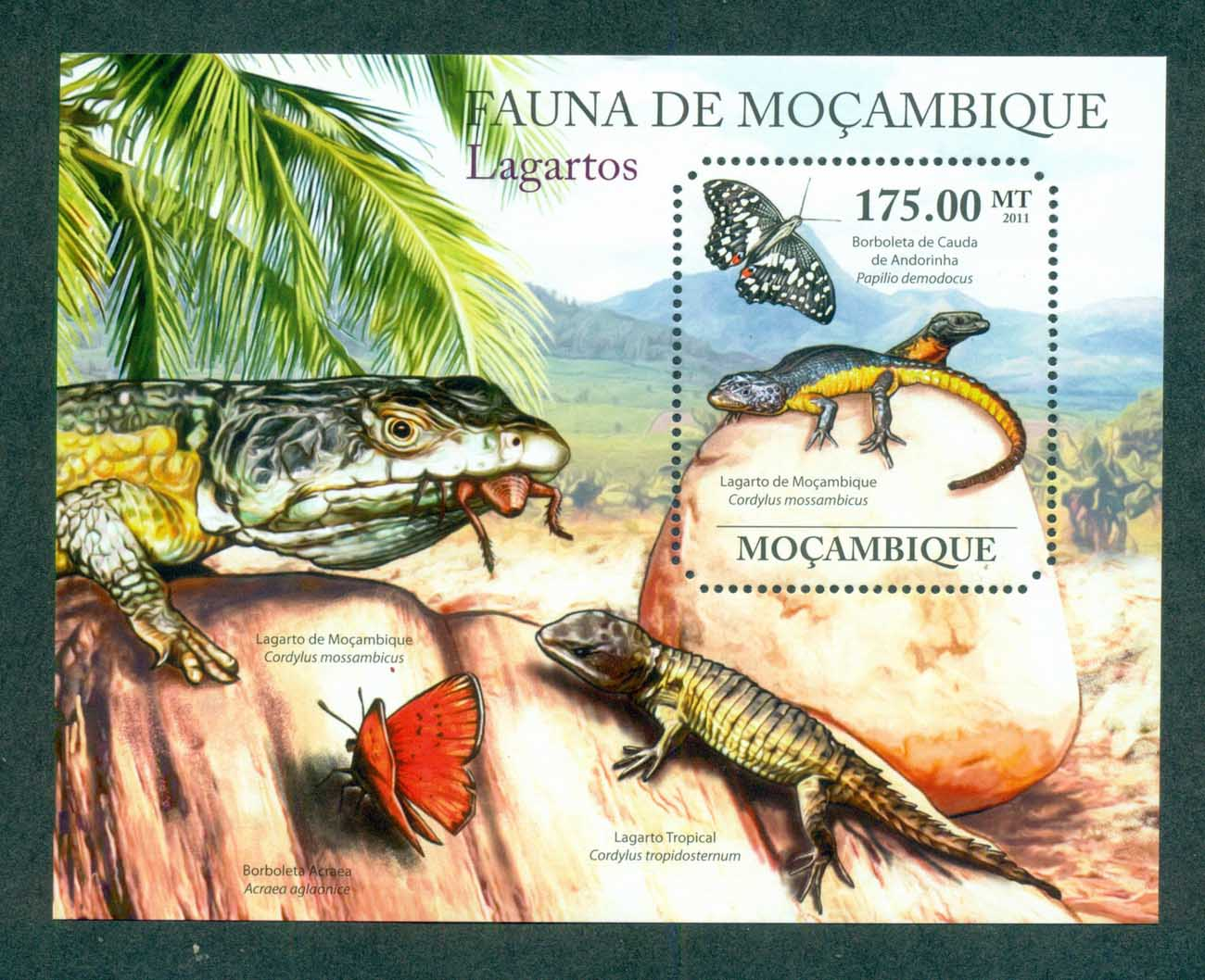 Mozambique 2011 Reptiles, Lizard, Butterfly MS MUH MOZ11426b