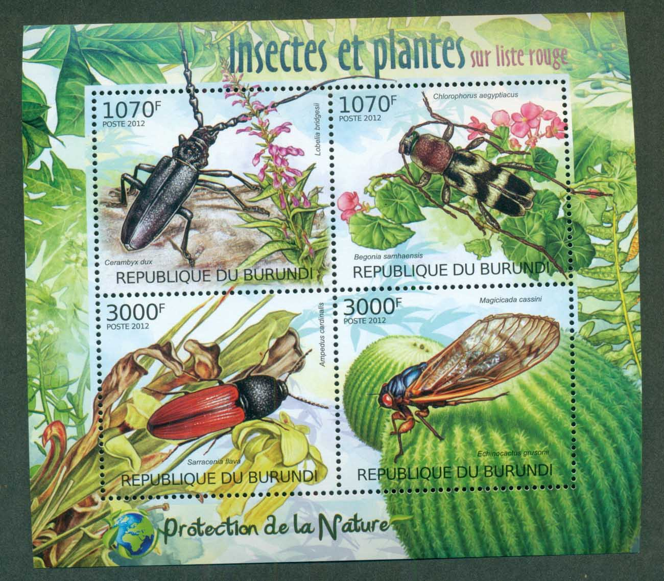 Burundi 2012 Insects, Beetles, Wasp, Fly MS MUH BUR12401a