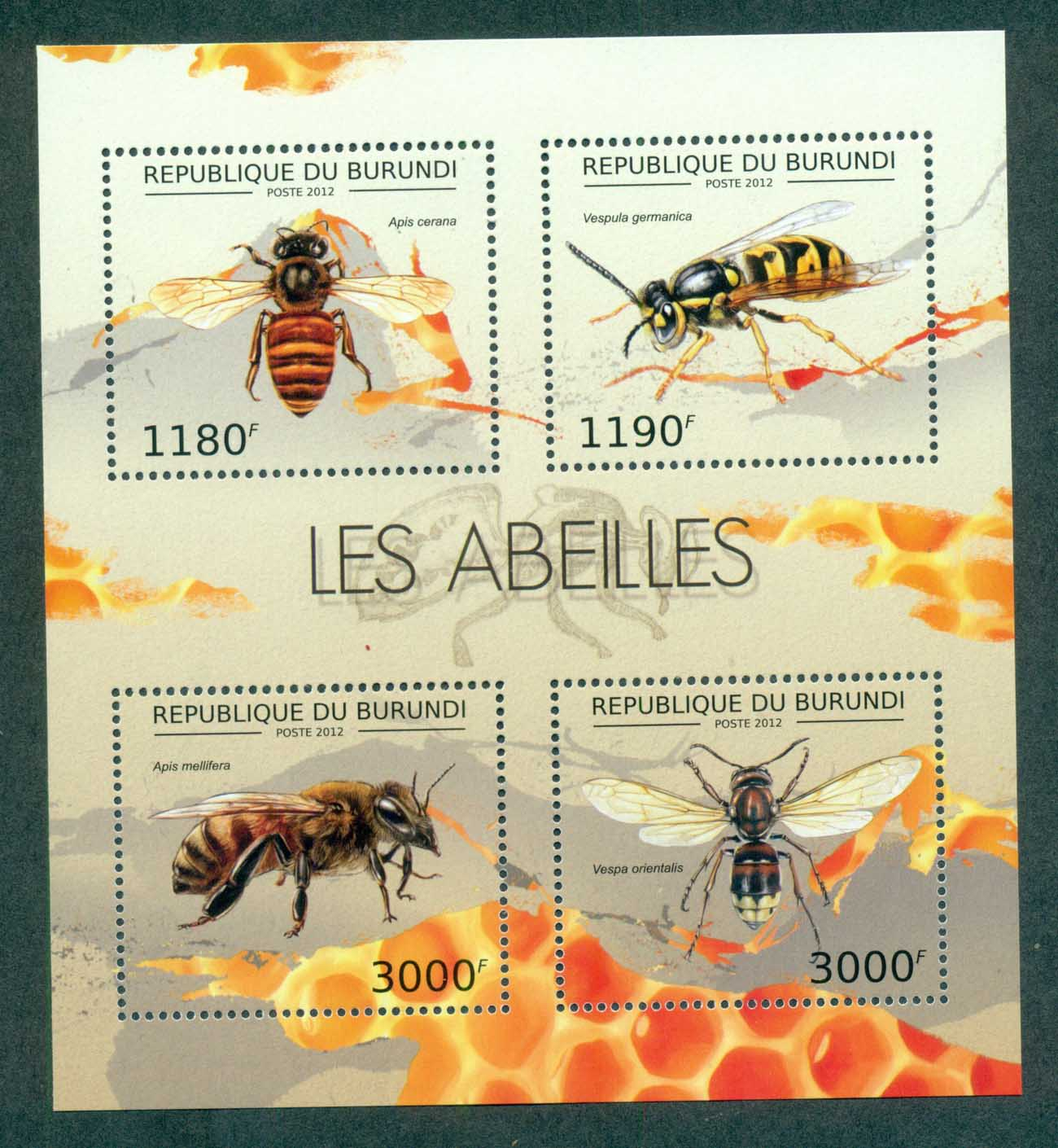 Burundi 2012 Insects, Bee, Wasp, Fly MS MUH BUR12620a