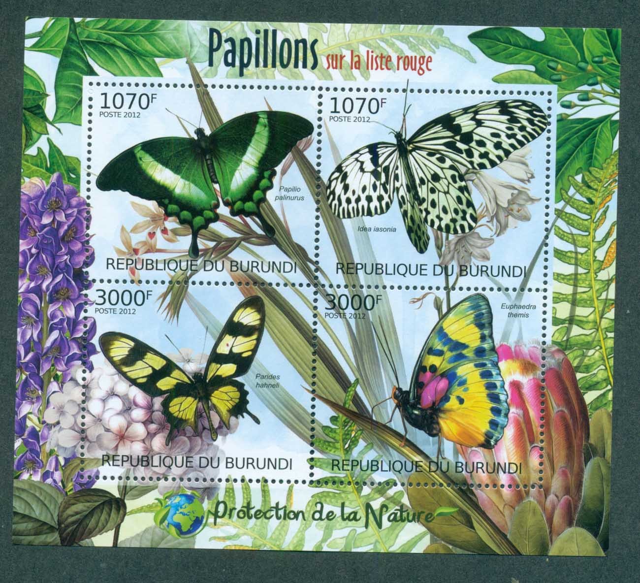 Burundi 2012 Insects, Butterfly, MS MUH BUR12410a