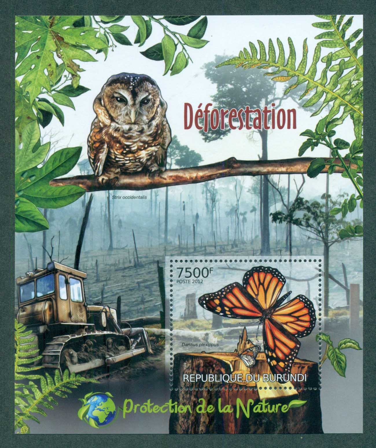 Burundi 2012 Insects, Butterfly,Owl, Tractor MS MUH BUR12411b