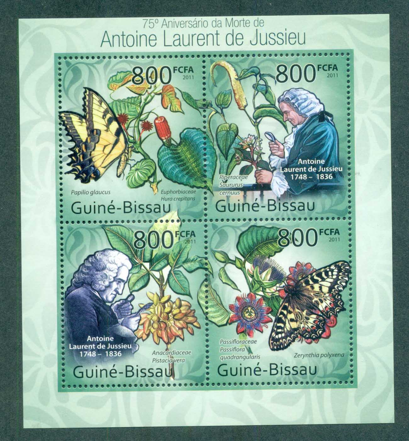 Guinea Bissau 2011 Insects, Butterfly, Antoine Laurent de Jussieu MS MUH GB11419a