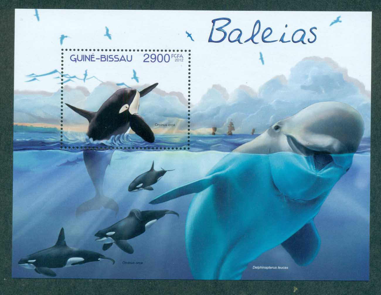 Guinea Bissau 2012 Marine Life, Whales, Dolphins MS MUH GB12602b