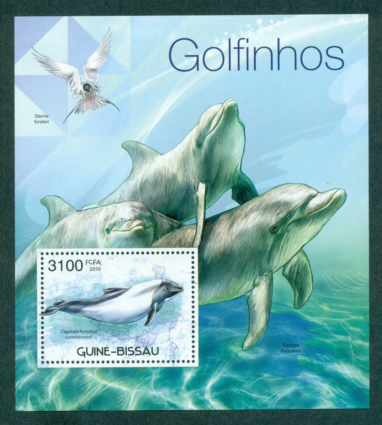 Guinea Bissau 2012 Marine Life, Whales, Dolphins, Bird MS MUH GB12319b