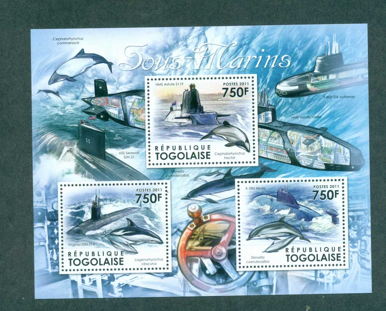 Togo 2011 Marine Life, Whales, Dolphins, Submarine MS MUH TG11611a