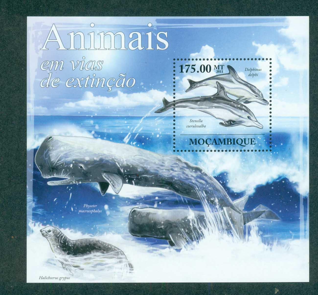 Mozambique 2011 Marine Life, Whales,Dolphins, Seal MS MUH MOZ11625b