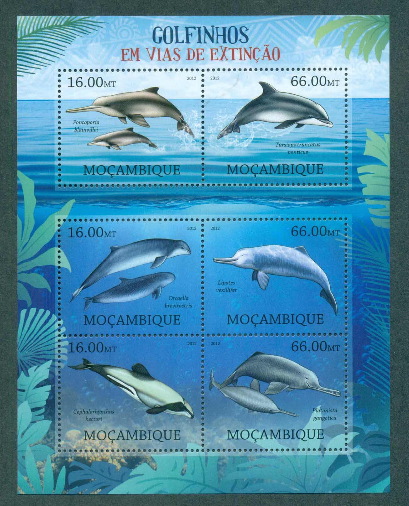 Mozambique 2012 Marine Life, Whales, Dolphins MS MUH MOZ12214a