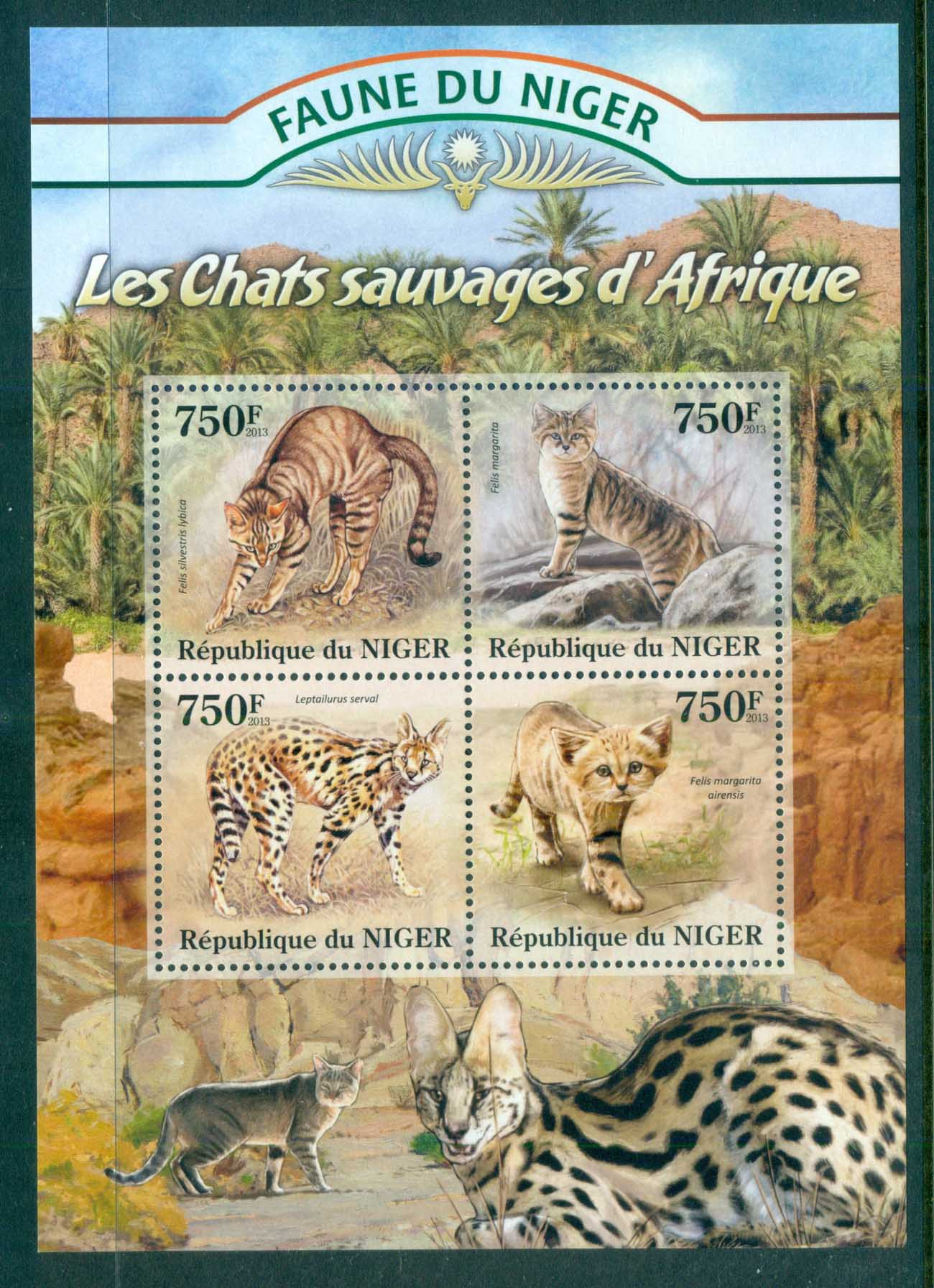 Niger 2013 African Wildlife, Big Cats, Lions, Leopard, Caracal MS MUH NIG13125a