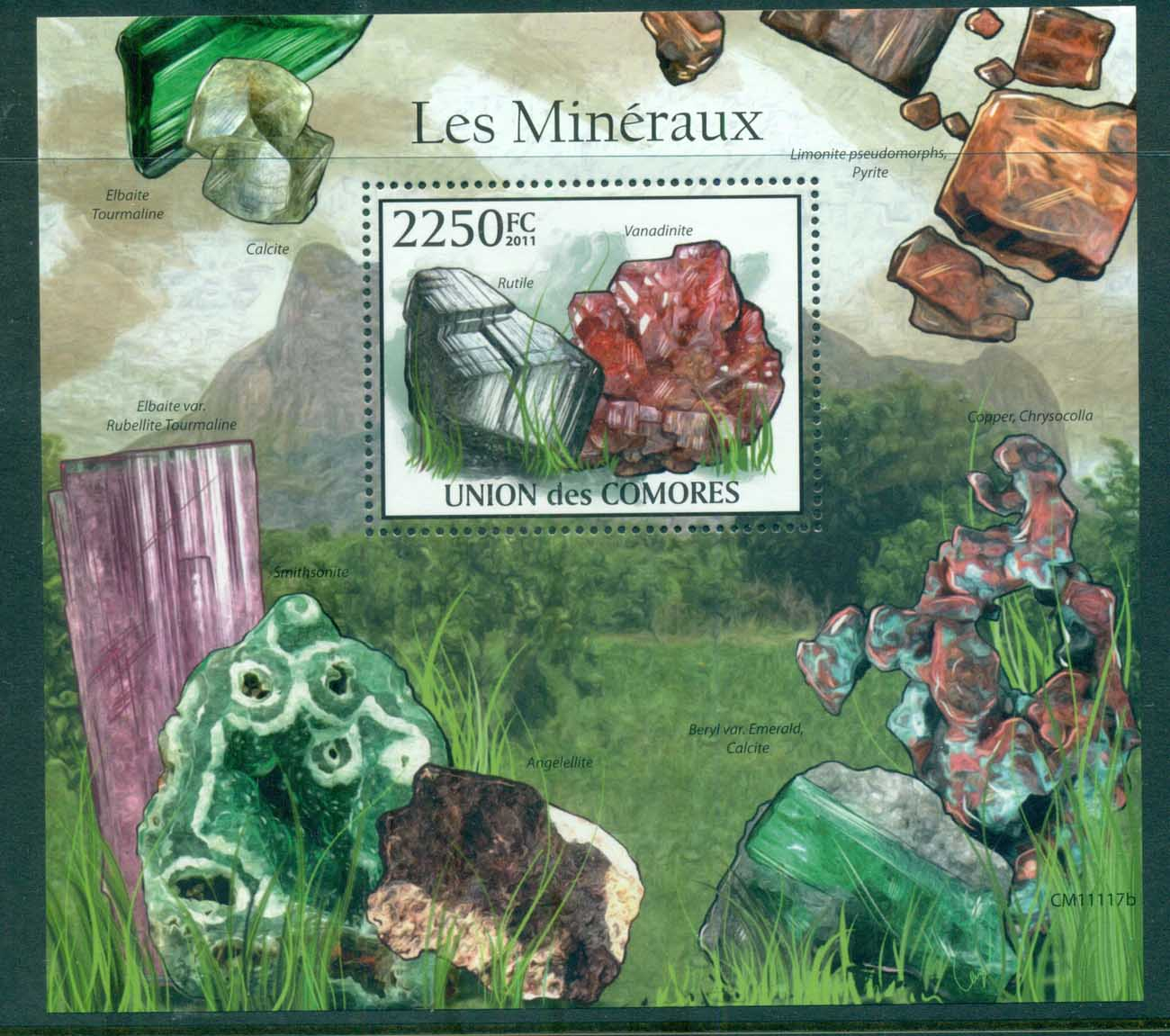Comoro Is 2011 Minerals, Rocks, Gem Stones, MS MUH CM11117b