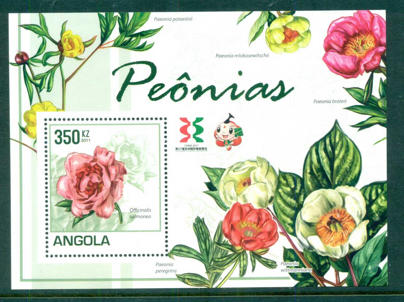 Angola 2011 Flora, Flower, Plant,Peonies MS MUH AN001