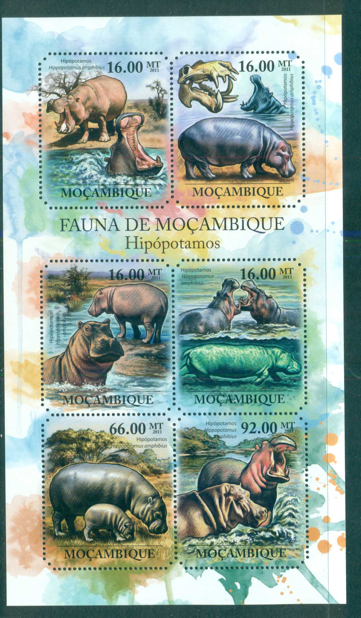 Mozambique 2011 African Wildlife, Hippo MS MUH MOZ11429a