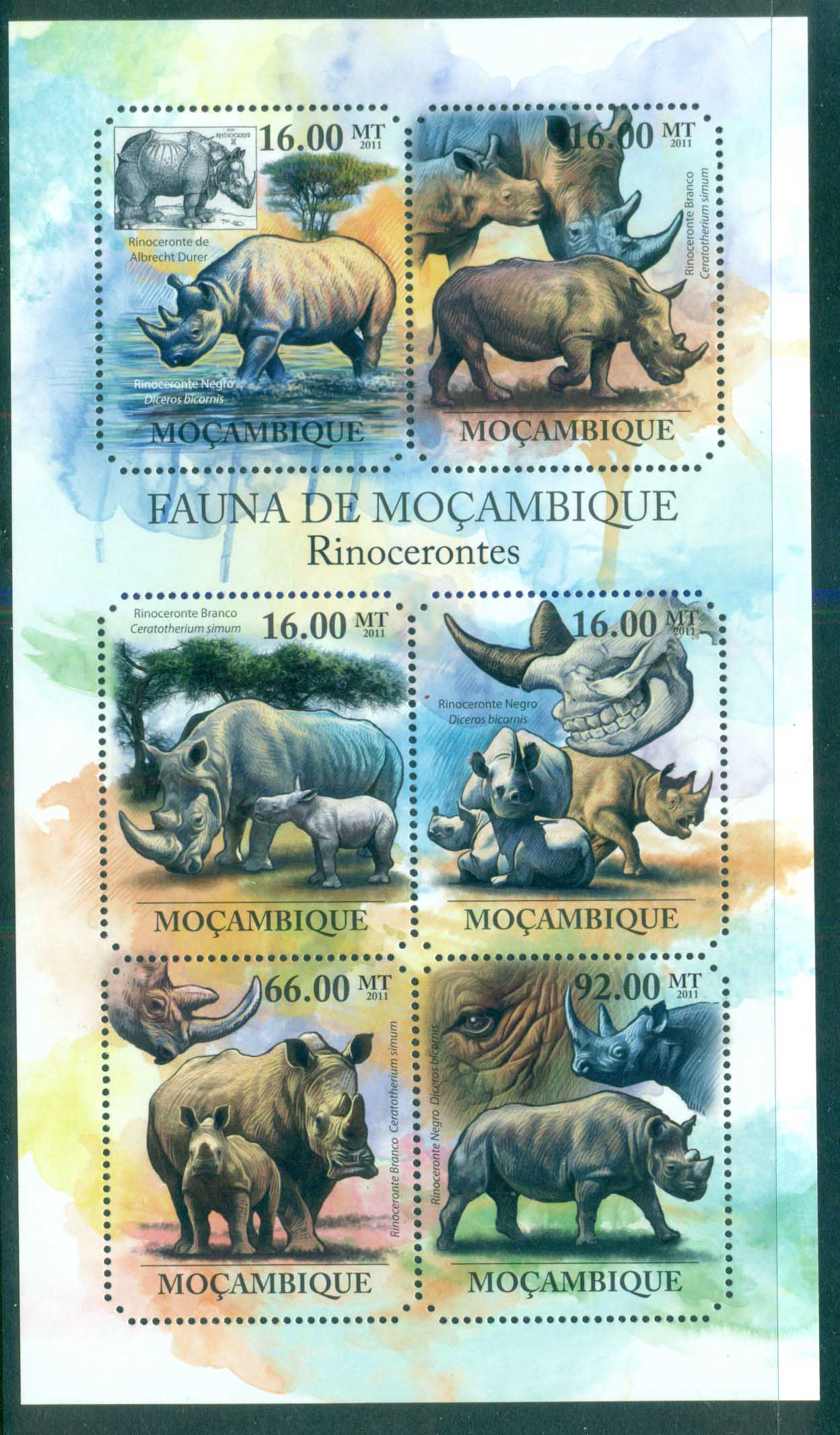 Mozambique 2011 African Wildlife, Rhino MS MUH MOZ11428a