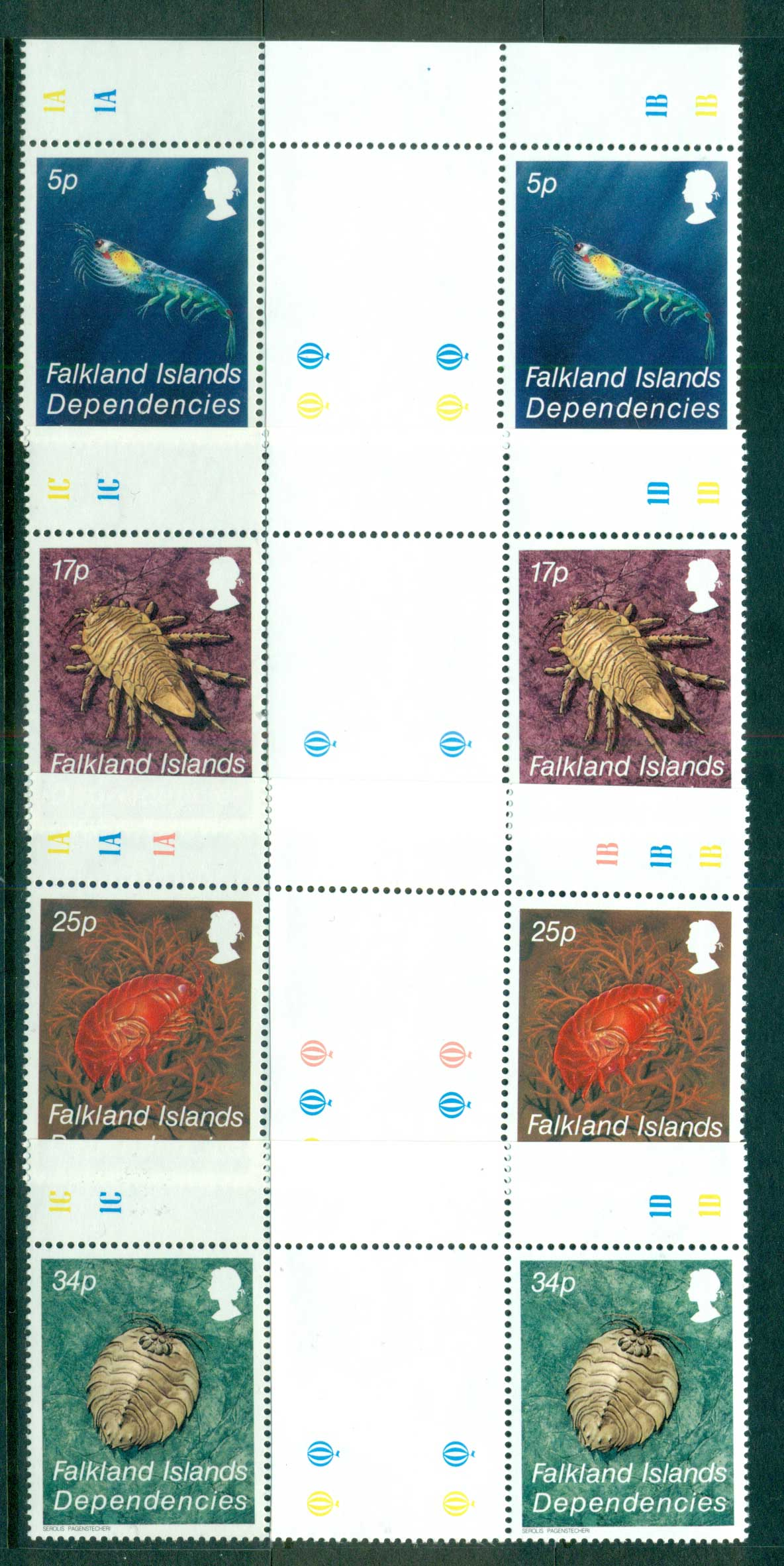 Falkland Is Deps 1984 Crustaceans gutter prs.MUH lot58859