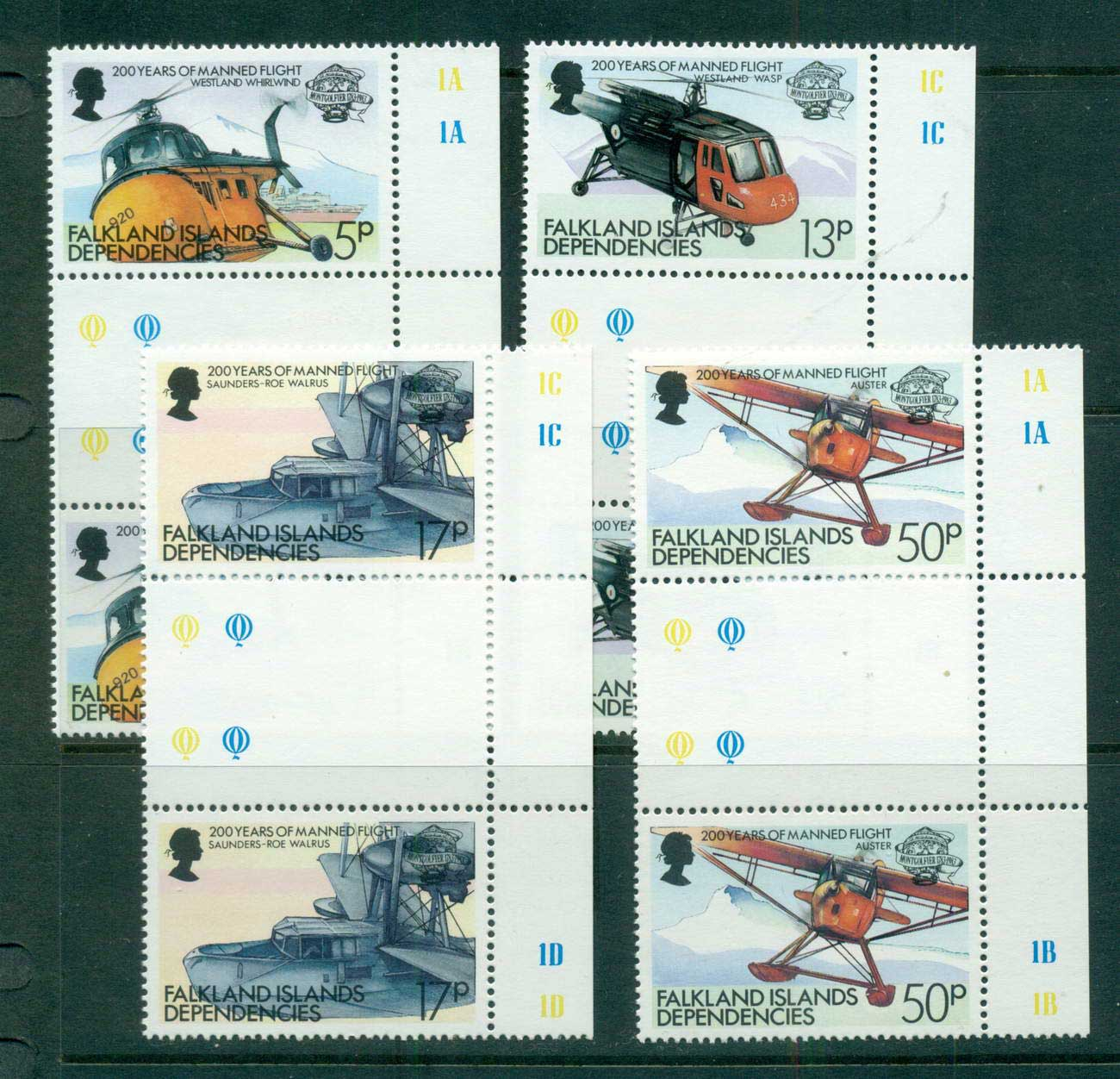 Falkland Is Deps 1983 Manned Flight Anniv. Gutter prs. MUH lot58862