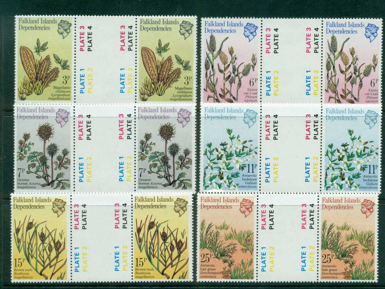 Falkland Is Deps 1981 Plants & Grasses gutter prs MUH lot58866