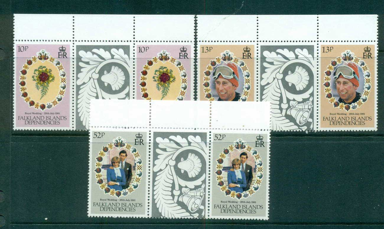 Falkland Is Deps 1981 Diana wedding gutter prs MUH lot58867