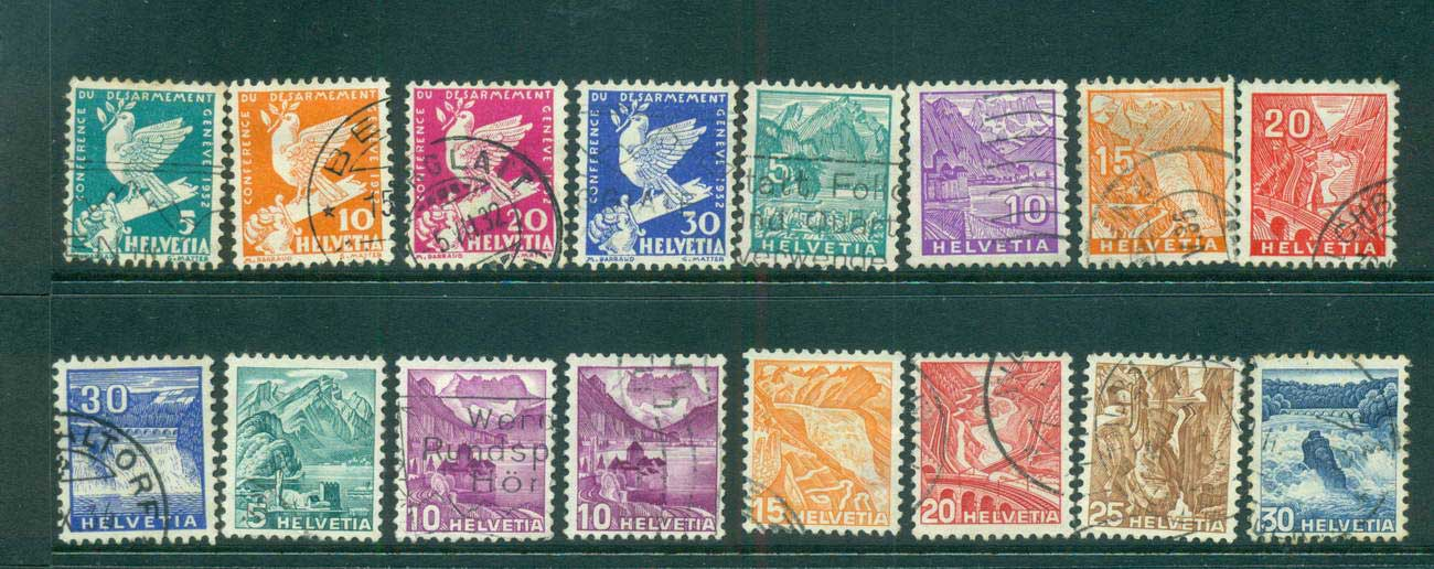 Switzerland 1932 Definitives Asst, Dove, Views FU lot59074