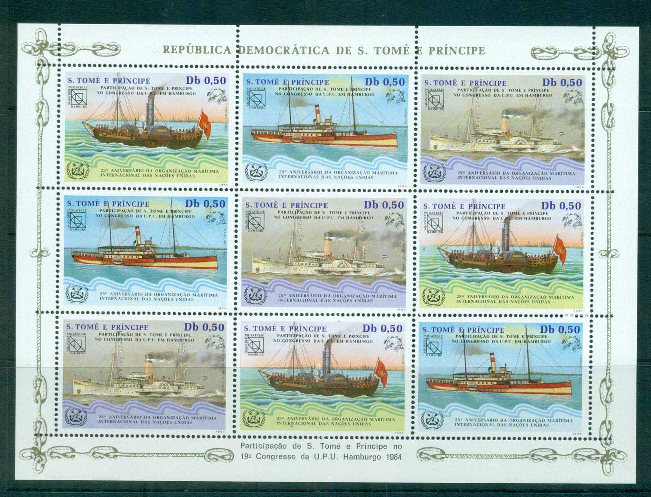 Sao Tome et Principe 1984 UPU Congress Hamburg, Str 3 Sheetlet Ships MUH lot59496