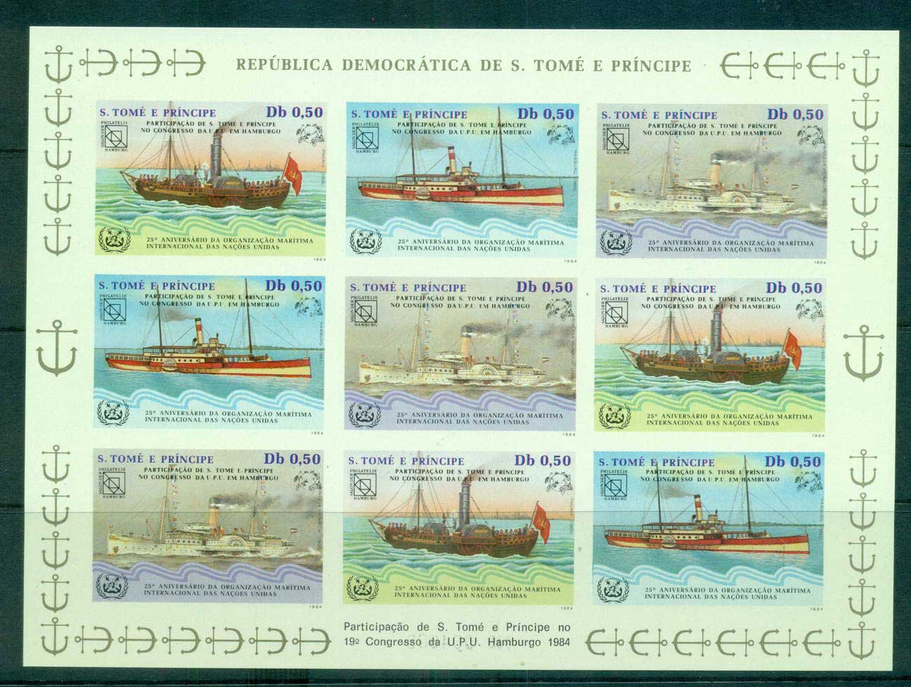 Sao Tome et Principe 1984 UPU Congress Hamburg, Str 3 Sheetlet Ships IMPERF MUH lot59498