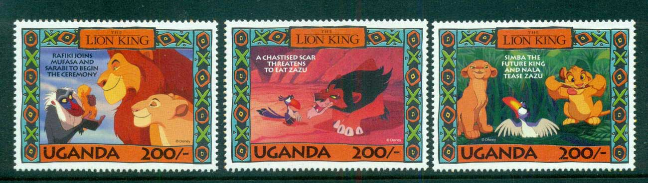 Uganda 1994 3x 200/- Lion King MUH lot59515