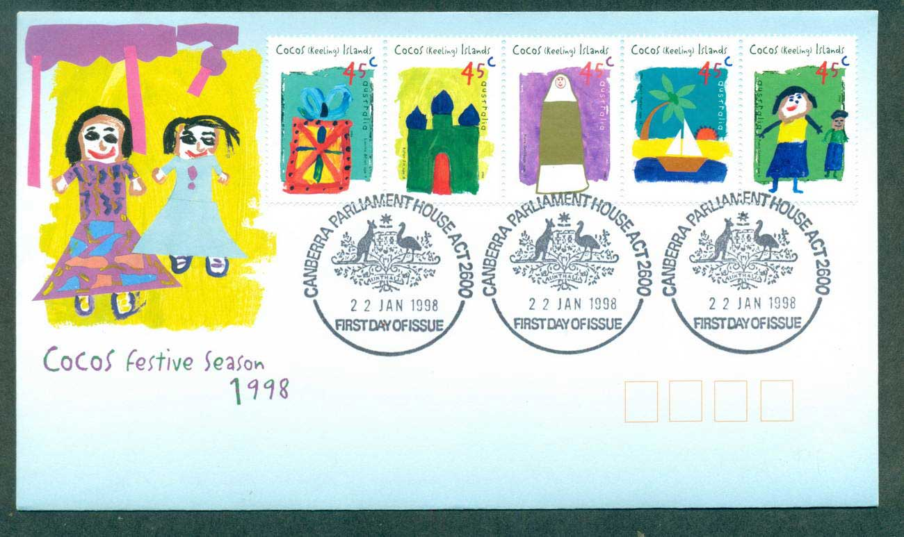 Cocos Keeling Is 1998 Festive Season Srt 5, Parliament House FDC lot62050