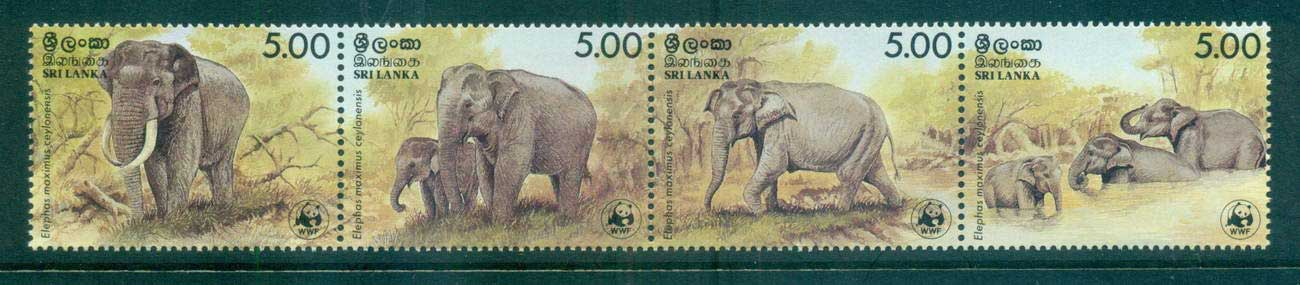 Sri Lanka 1986 WWF Elephants Str 4 MUH lot64105