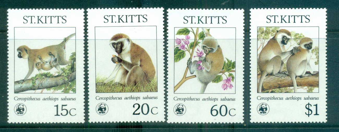 St Kitts 1986 WWF Green Monkey MUH lot64106
