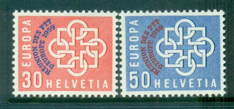 Switzerland 1959 Europa, Global Links, Opt PTT MUH lot65296