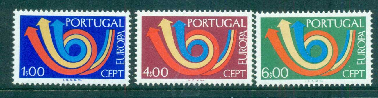 Portugal 1973 Europa, Post Horn, Arrow MUH lot65571