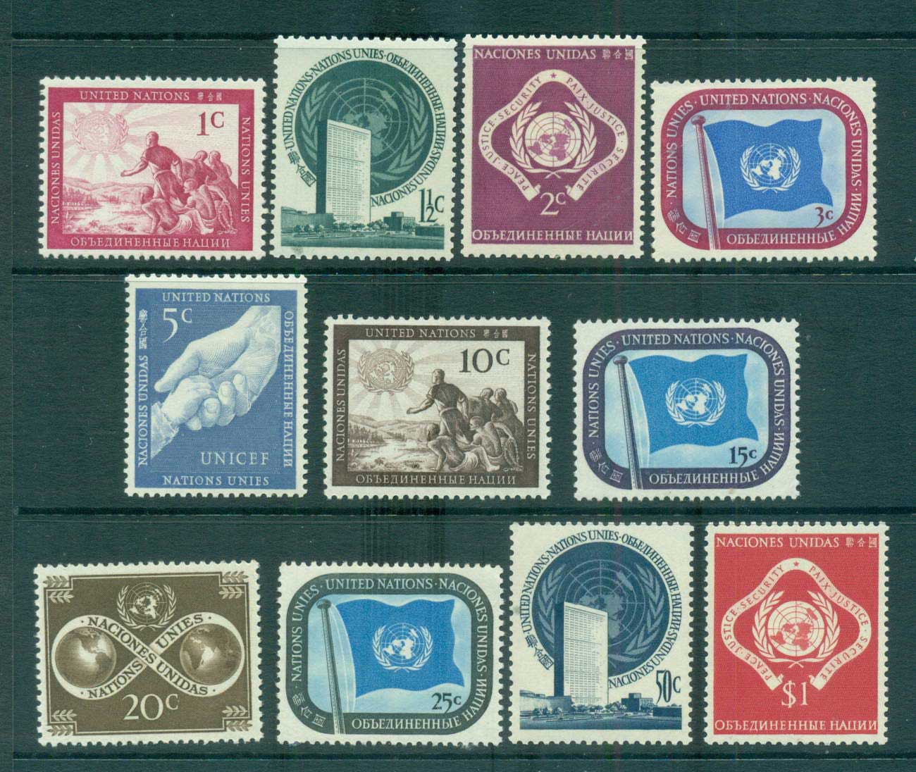 UN New York 1950 Definitives MUH lot65934
