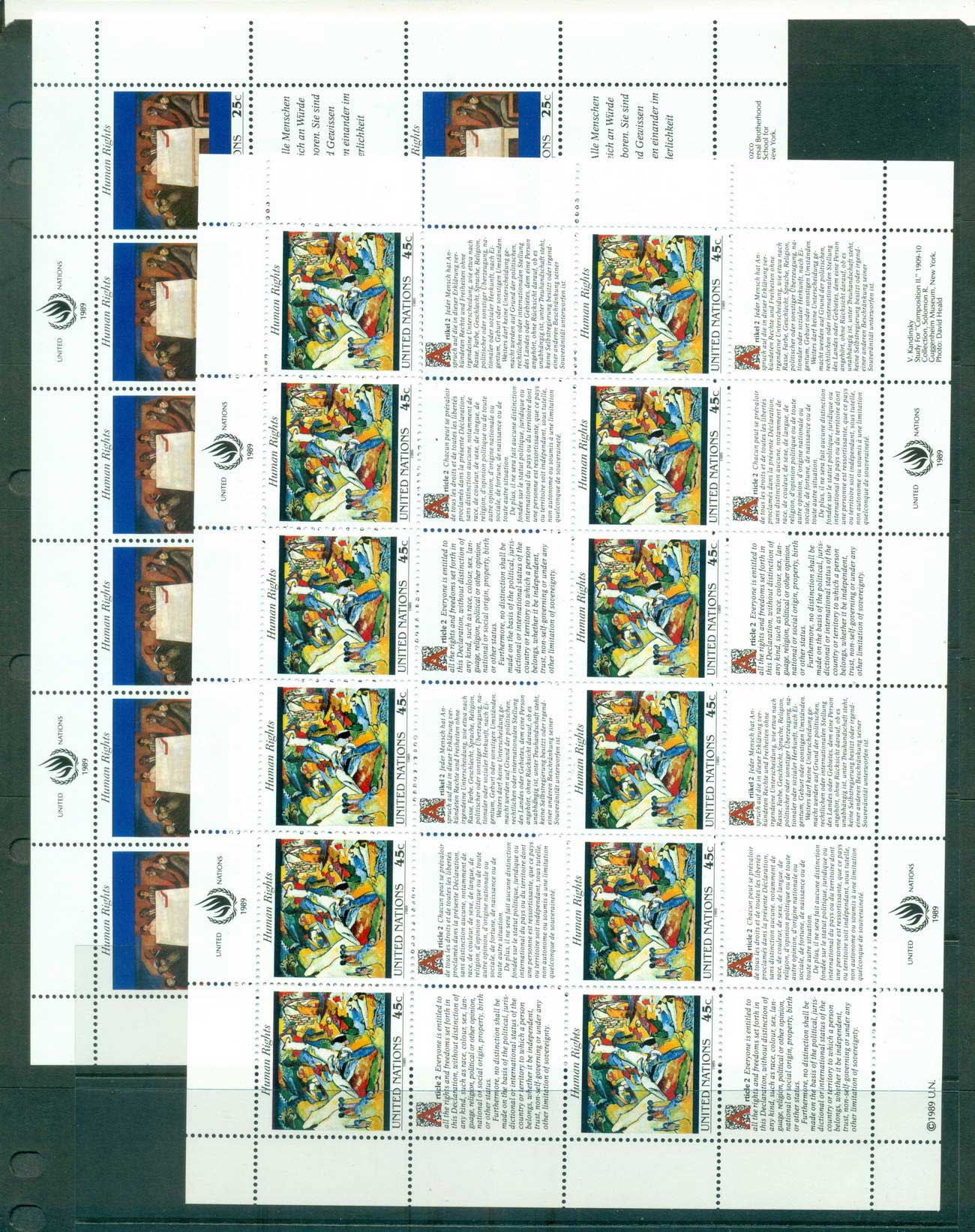 UN New York 1989 Human Rights 2x Sheets MUH lot66034