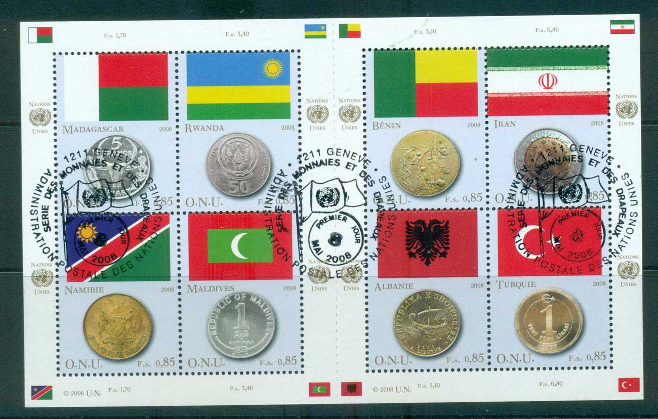 UN Geneva 2008 Flags & Coins MS CTO lot66047