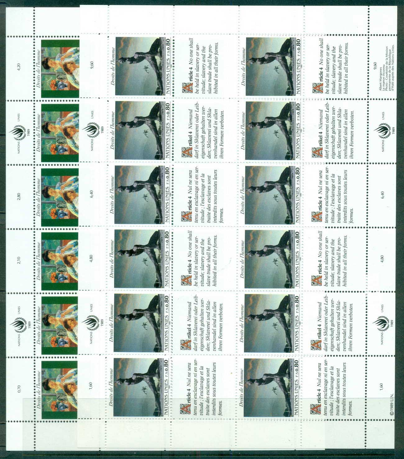 UN Geneva 1989 Human Rights 2x Sheets CTO lot66064