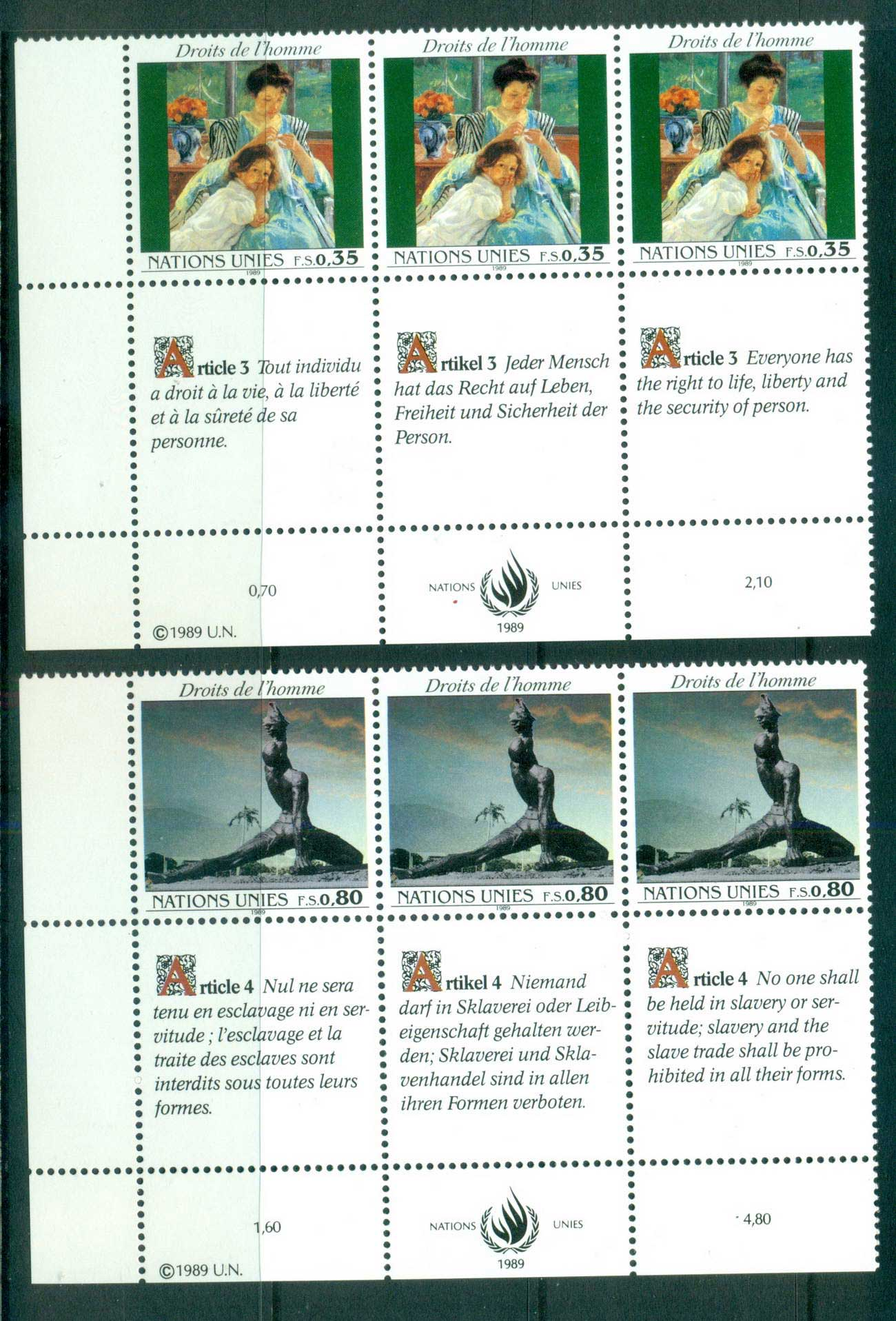 UN Geneva 1989 Human Rights 2x Str 3 CTO lot66065