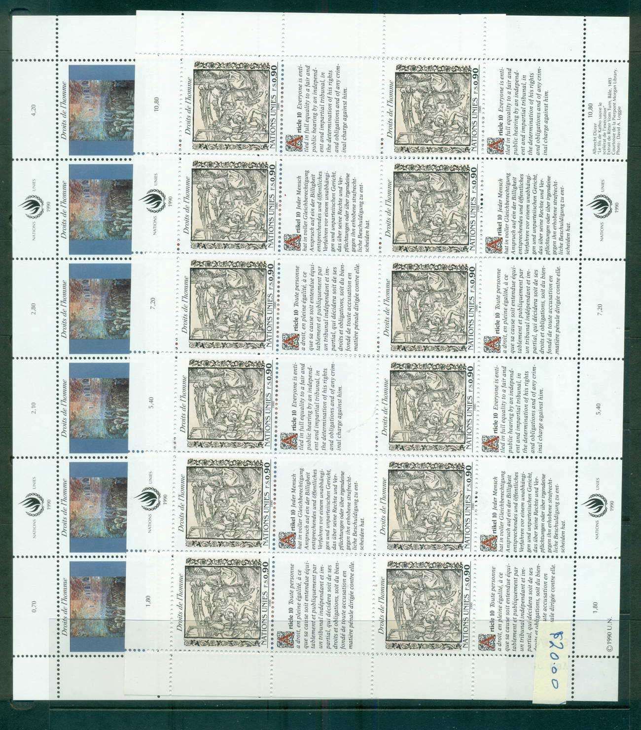 UN Geneva 1990 Human Rights 2x Sheets CTO lot66066