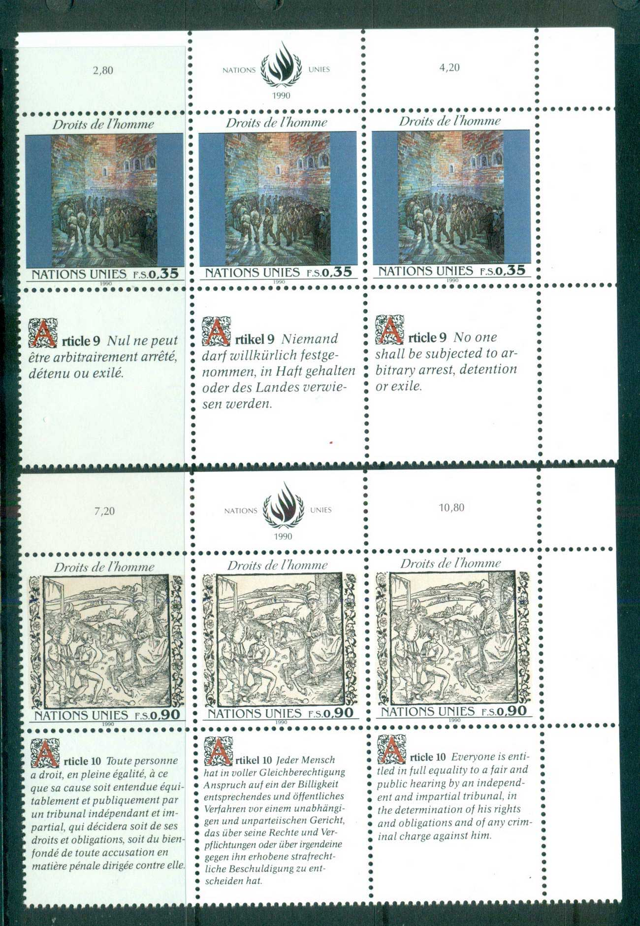 UN Geneva 1990 Human Rights 2x Str 3 CTO lot66067