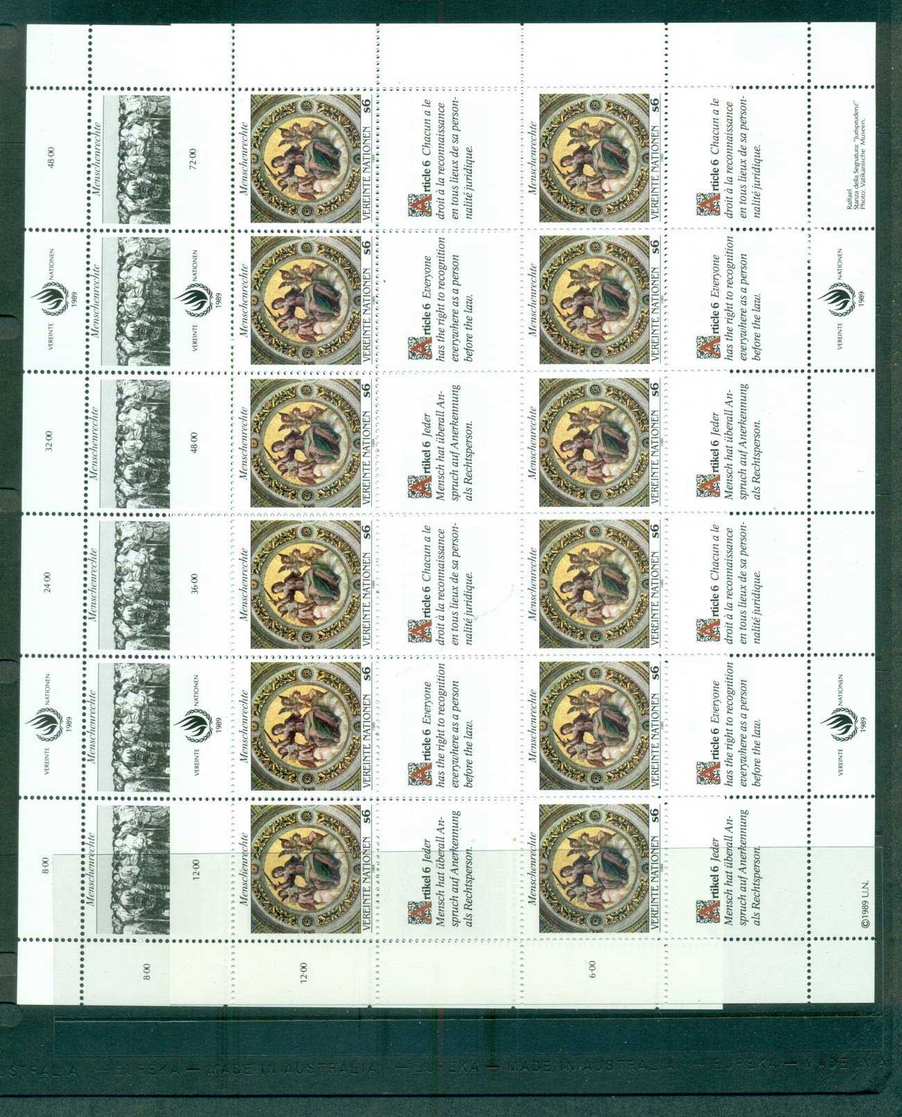 UN Vienna 1989 Human Rights 2x Sheets CTO lot66103