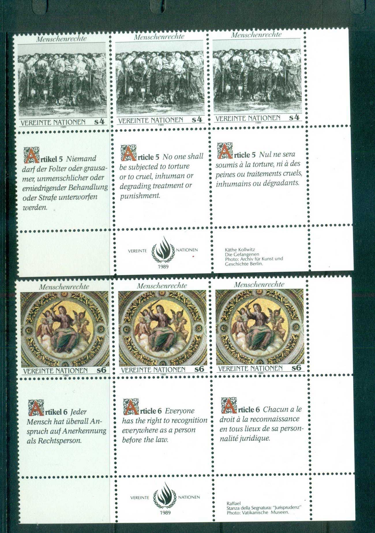 UN Vienna 1989 Human Rights 2x Str 3 CTO lot66104