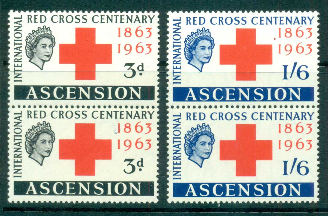 Ascension Is 1963 Red Cross pair MUH lot66123