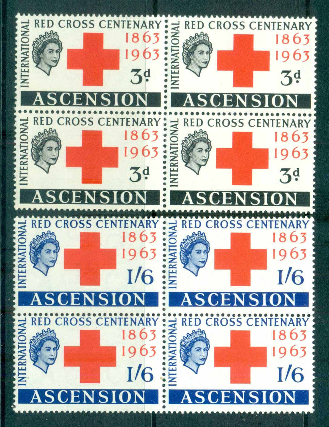 Ascension Is 1963 Red Cross Blk 4 MUH lot66124