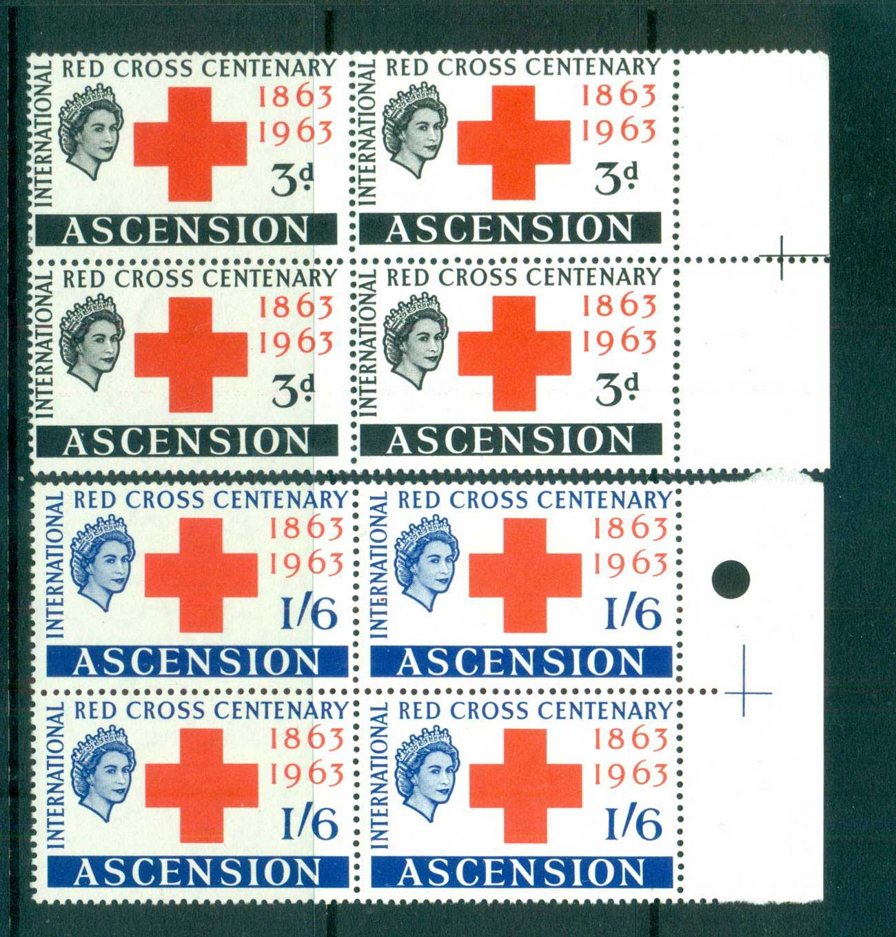 Ascension Is 1963 Red Cross Blk 4 MUH lot66125