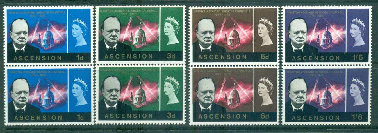Ascension Is 1966 Churchill pairs MUH lot66149