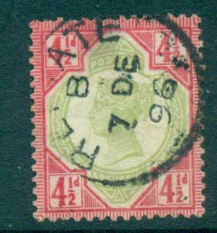 GB 1887-92 QV Jubilee 4 1/2d carmine rose & green FU lot66710