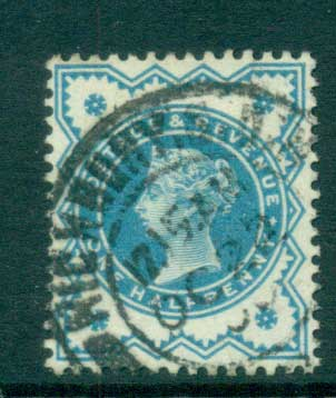 GB 1900 QV Jubilee 1/2d blue green (faded) FU lot66715