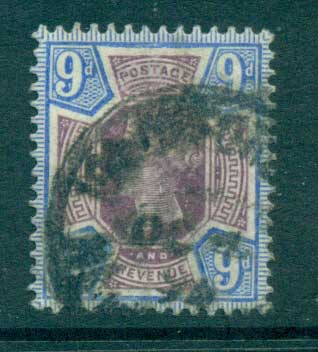 GB 1887-92 QV Jubilee 9d blue & lilac FU lot66718
