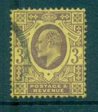 GB 1902-11 KEVII 3d dull purple/orange yellow FU lot66725